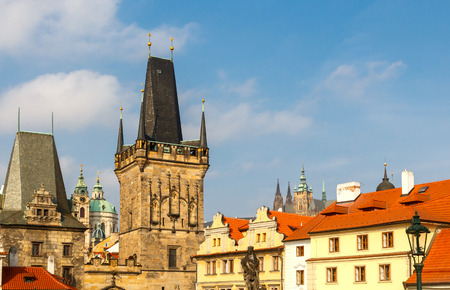 charles: View from Charles Bridge to the old town in Prague. Stock Photo