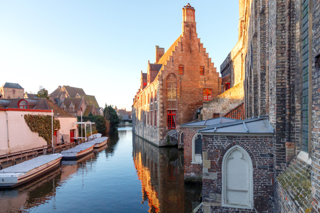 bruges: Bruges, Belgium - December 28, 2014: View of the monastery of St. John in the city of Bruges in the morning. Editorial