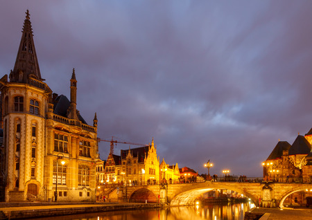 gent: The historic center of Gent, embankment Graslei. Former center of the medieval harbor.