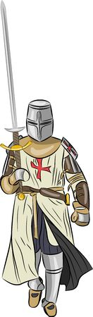 nobleman: vector medieval knight in armor with a sword  isolated on white background