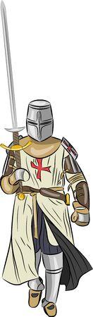 nobleman: vettore cavaliere medievale in armatura con la spada isolato su sfondo bianco
