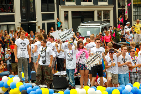 lesbian sexy: Amsterdam, Netherlands - August 2, 2014:  participants in the annual event for the protection of human rights and civil equality. Gay Pride 2014.