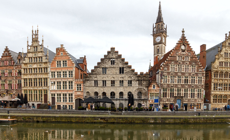 gent: Ghent, Belgium - December 29, 2014: The historic center of Gent, embankment Graslei. Former center of the medieval harbor.