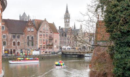 Ghent, Belgium - December 29, 2014: The historic center of Gent, embankment Korenlei. Former center of the medieval harbor.