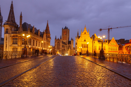 Ghent, Belgium - December 29, 2014: The historic center of Gent, embankment Graslei at night. Former center of the medieval harbor. Editorial