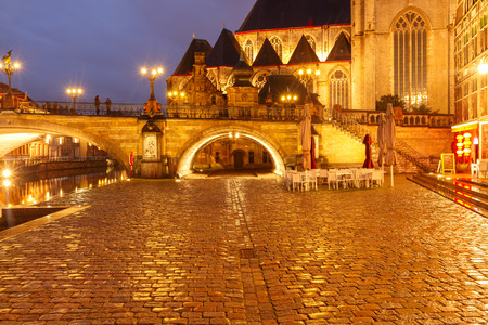 gent: Ghent, Belgium - December 29, 2014: The historic center of Gent, embankment Graslei at night. Former center of the medieval harbor. Editorial