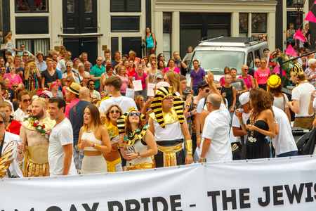 nederland: Amsterdam, Netherlands - August 2, 2014:  Participants of the annual event for the protection of the rights of gays, lesbians and civil equality.