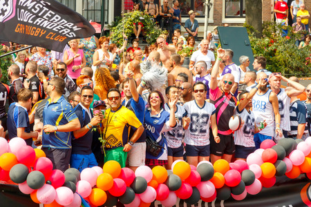 annual event: Amsterdam, Netherlands - August 2, 2014:  Participants of the annual event for the protection of the rights of gays, lesbians and civil equality.