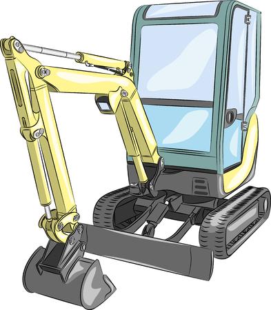 road scraper: vector yellow  mini excavator isolated on white background
