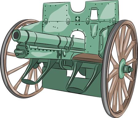 Cannon of World War I isolated on white background. Illustration