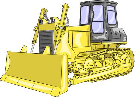 crawler: heavy yellow crawler bulldozer with bucket isolated on a white background Illustration