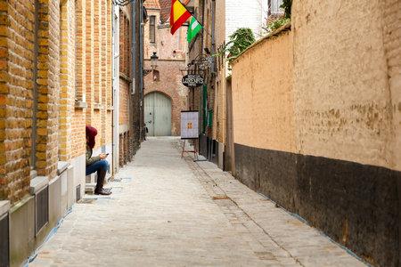 bruges: Bruges Belgium December 26 2014: Old traditional street in Bruges. Editorial