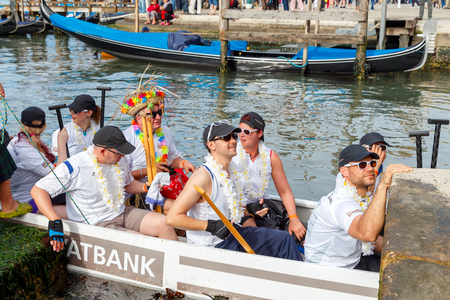 attended: Venice Italy May 24 2015: Racing rowing in the Venetian lagoon. The annual Vogalonga Regatta. In the race was attended by about 1500 boats from around the world.
