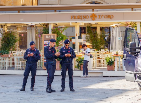 ensure: Florence Italy May 18 2015: Carabinieri in the Republic Square ensure the safety of people. National Military Italian police. Elite division ..