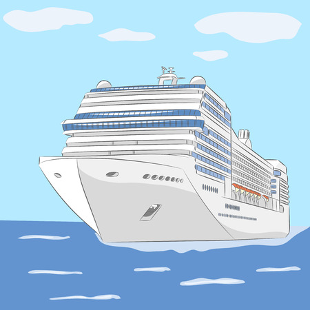 slipway: White cruise ship in the ocean background of sky and clouds.