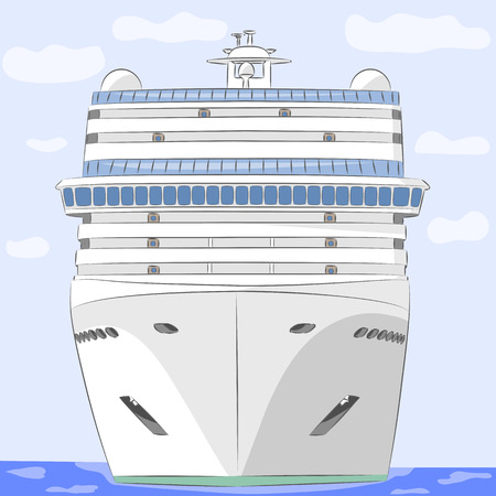 cruising: White cruise ship in the ocean background of sky and clouds.