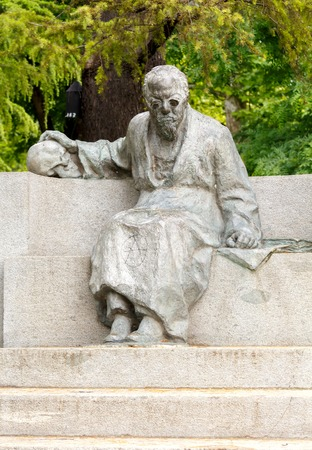 Verona Italy May 26 2015: Monument to the famous doctor anthropologist and criminologist Cesare Lombroso set in Verona. Editorial