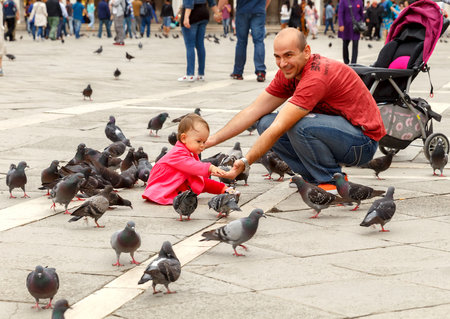 may fly: Venice Italy May 20 2015: Tourists are photographed on St. Mark39s Square with pigeons. Pigeons fly in the area for the food from the tourists.