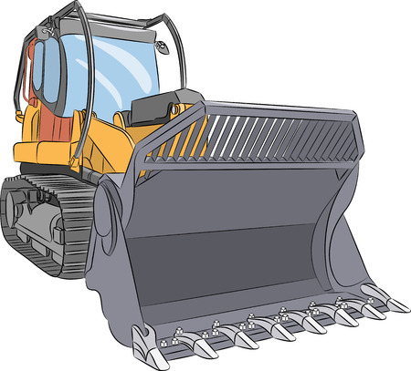Heavy industrial crawler tractor with a bucket isolated on a white background. Illustration