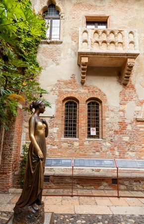 Verona Italy May 26 2015: Statue and Juliet39s balcony in Verona. The main tourist attraction.