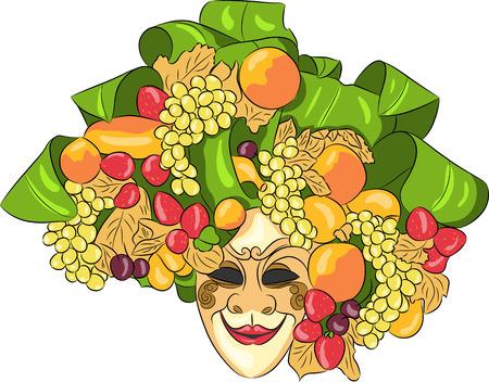 mascaras de carnaval: M�scara veneciana del carnaval de la fertilidad aislado en un fondo blanco.
