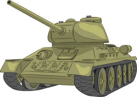 t34: Medium Tank of World War II T-34-85 isolated on .belom background.