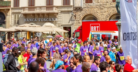 active lifestyle: Florence, Italy - 17 May 2015: The traditional annual marathon in Florence. Is included in top twenty marathons. The length of the route is 42 km. Attended by about 6000 athletes. Editorial