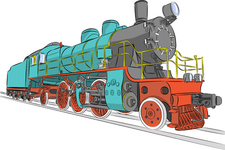 steam locomotive: Vector. Old steam locomotive on the tracks. Illustration