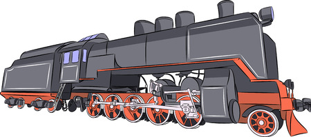 Old steam locomotive in black isolated on white background. Illustration