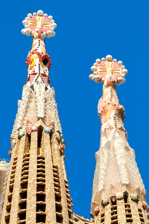 scheduled: Barcelona, Spain - September 6, 2015: Sagrada Familia - cathedral designed by Gaudi.  Beginning construction in in 1882. Completion is scheduled in 2026. It is one of the main tourist attractions of Barcelona.