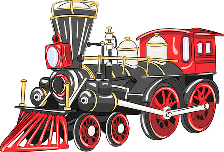 steam train: Steam locomotive of black color with red wheels.