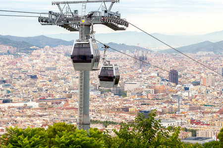 montjuic: The cable car to the top of the hill of Montjuic in Barcelona.