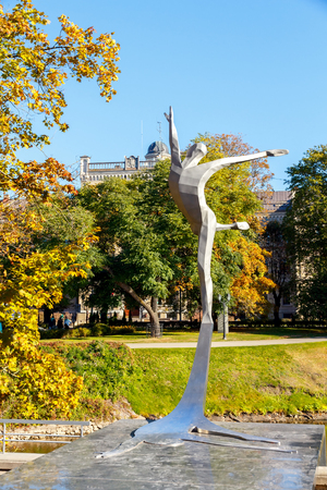 pirouette: Riga, Latvia - 15 October, 2015: Monument to the famous ballet dancer Maris Liepa. The first monument in honor of dance in Latvia.