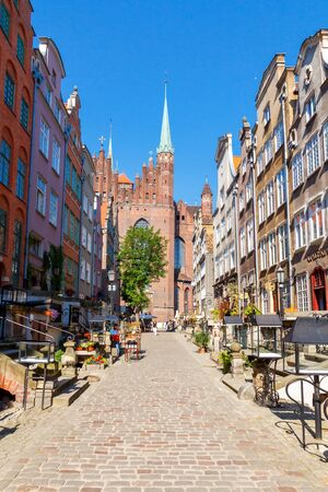 honeymooners: Gdansk, Poland - August 3, 2015: Mariacka Street in Gdansk. Old medieval street is very popular among honeymooners and tourists. Editorial