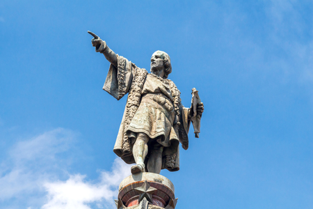 Christopher Columbus monument on the central promenade of Barcelona.
