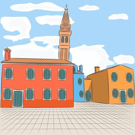 lagoon: Burano. The island in the Venetian lagoon. Famous for its colorful houses. Illustration