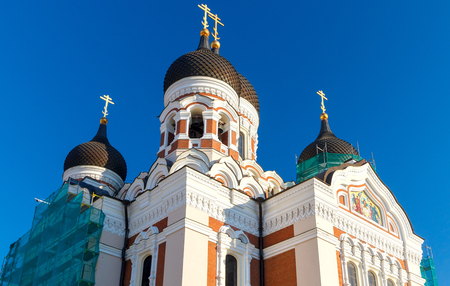 nevsky: Domes with crosses on Alexander Nevsky Cathedral in Tallinn.