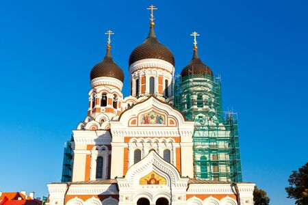 alexander nevsky: Domes with crosses on Alexander Nevsky Cathedral in Tallinn.