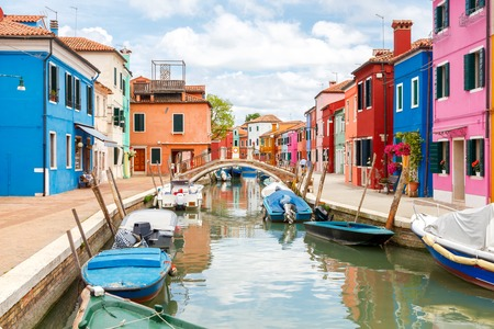 Burano: The island in the lagoon near Venice. Famous tourist attraction. Famous for its colorful houses and lace.