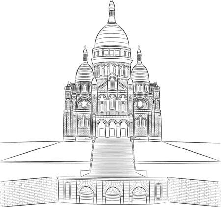 facade building: Sacre Coeur Cathedral in Montmartre. Paris.