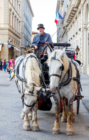 cartage: Florence, Italy - May 17, 2015: horse-drawn carriage at the Republic Square in Florence. Sightseeing tours in a coach are very popular among tourists.