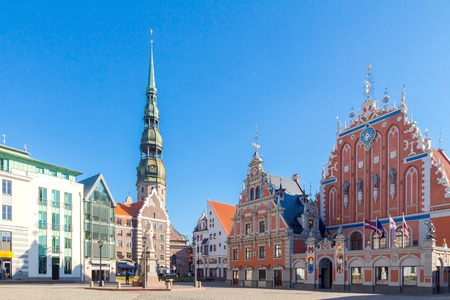town hall square: Town Hall Square and the House of the Blackheads in Rigas historic center. Stock Photo