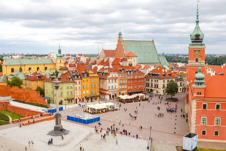View of the Royal Square with the tower of the church of St. Anne. Warsaw is a major tourist destination in Eastern Europe.