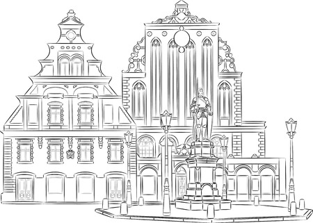 town hall square: House of the Blackheads in Town Hall Square in Riga. Illustration