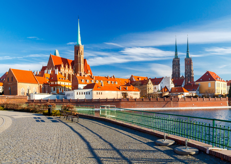 reference point: View of the Cathedral of St. John the Baptist on the island Tumski in Wroclaw. Poland.