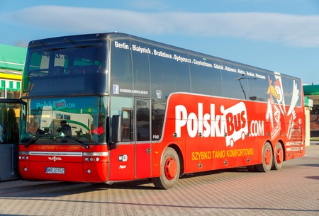 roomy: Warsaw, Poland - December 23, 2015: Polish bus company is one of the main passenger carriers in Poland. Volvo Buses are comfortable and roomy car. Editorial