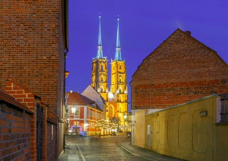reference point: View of the Cathedral of St. John the Baptist on the island Tumski in Wroclaw at night.