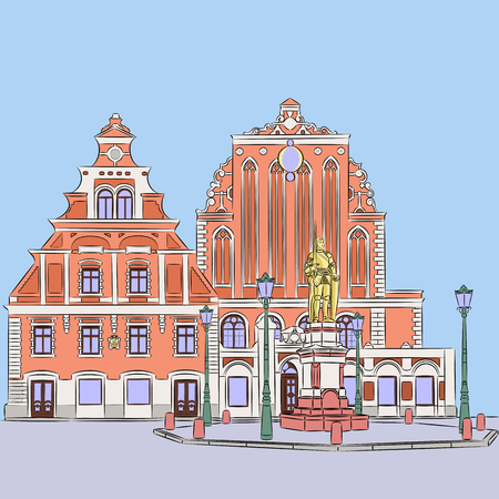 town hall: House of the Blackheads in Town Hall Square in Riga. Illustration