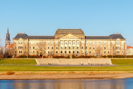 reference point: The building of the Ministry of Finance of Saxony on the banks of the Elbe in Dresden.