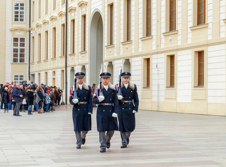 december 25: Prague, Czech Republic - December 25, 2015:  Soldiers guard of honor near the Presidental palace.